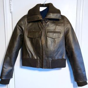Barney's Co-op Distressed Bomber Jacket